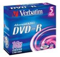 Диск DVD-R Verbatim 4.7Gb 16x Jewel case (5шт) (43519)